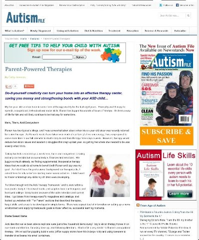 """Parent-Powered Therapies"" by Cathy Jameson, Autism File."
