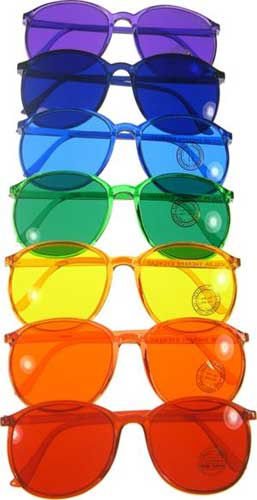 different colored glasses