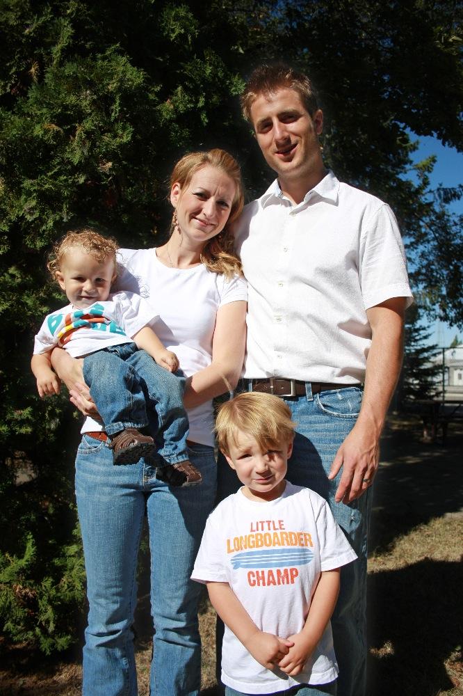 David, Collet, Ezekiel (in Collet's arms) and big brother Ezra