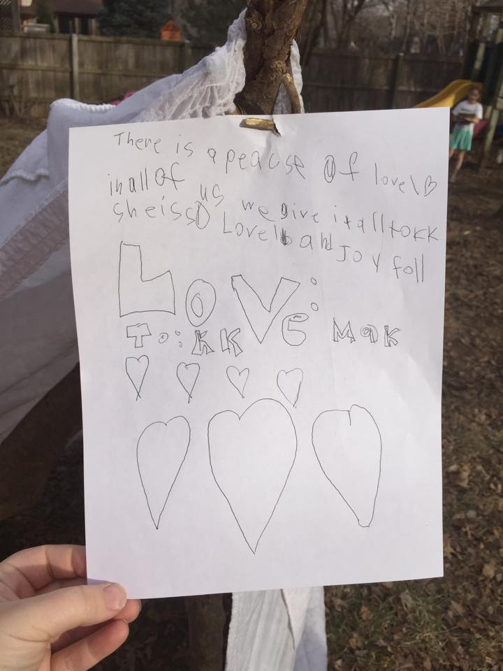 """""""There is a piece of love in all of us. We give it all to KK. She is so lovable and joyful. To: KK Love: Mak."""""""